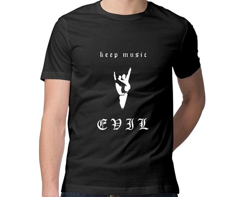 Keep Music Evil  Men Round Neck Tshirt