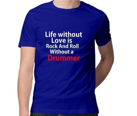 Life   Love , Rock n Roll Men Round Neck Tshirt
