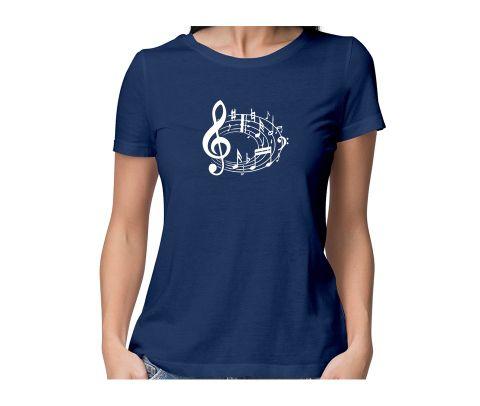 Music Notes  round neck half sleeve tshirt for women