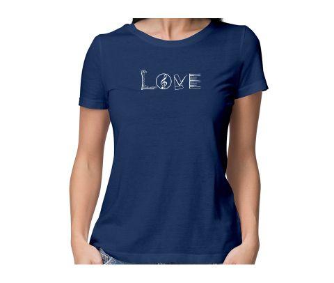 Love Sing Piano  round neck half sleeve tshirt for women