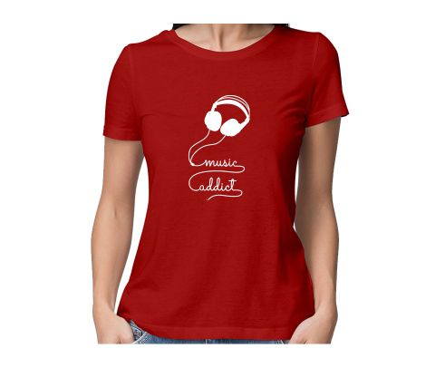 Music Addict Coming throug  round neck half sleeve tshirt for women