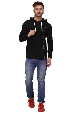 Rigo Black Hooded Zip Full Sleeve Slim Fit Tshirt For Men