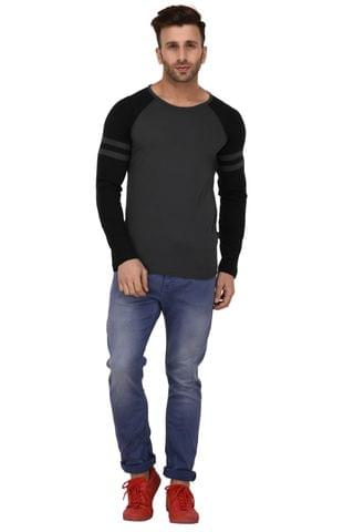 Rigo Dark Grey And Black Raglan Full Sleeve Slim Fit Tshirt For Men