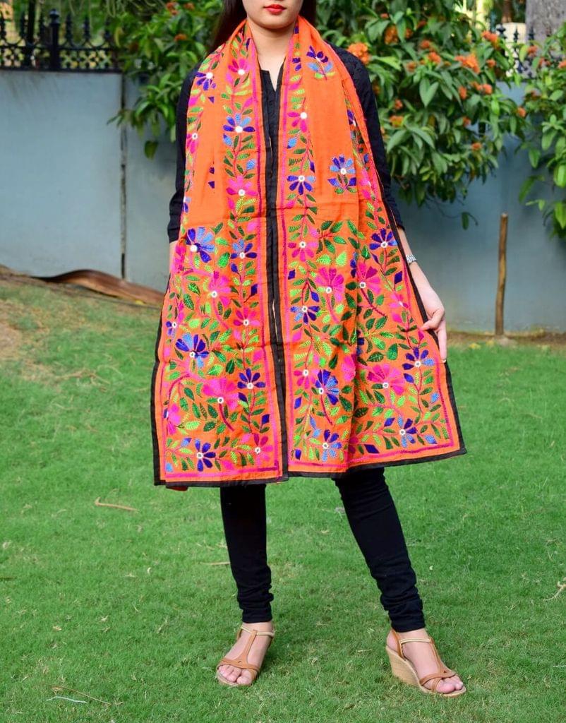 Chanderi Hand Embroidered Stole-Orange 5