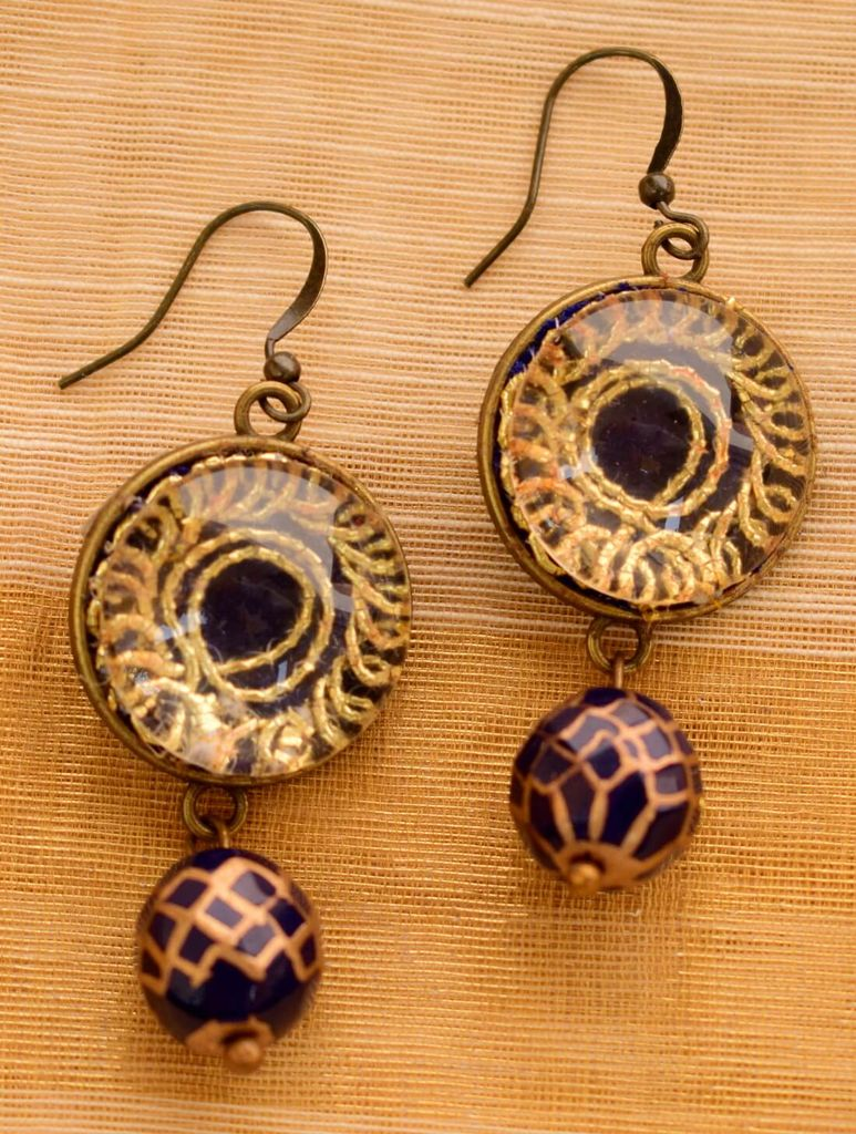Earrings with Hand Embroidery Setting- Handpainted Bead 1