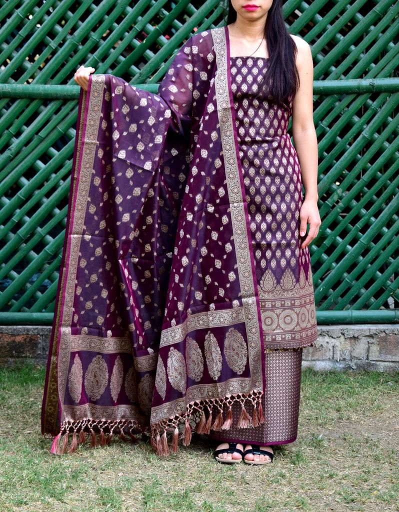 Benarasi Jamdani Brocade Suit in Cotton Silk- Wine Color