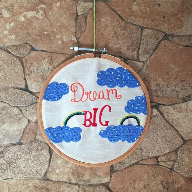 Dream Big Embroidered Hoop Art