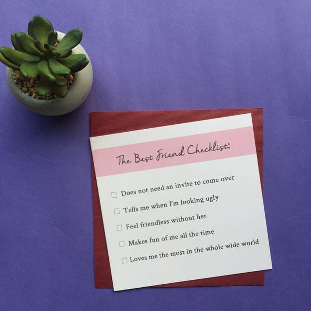 Best Friend Checklist Greeting Card