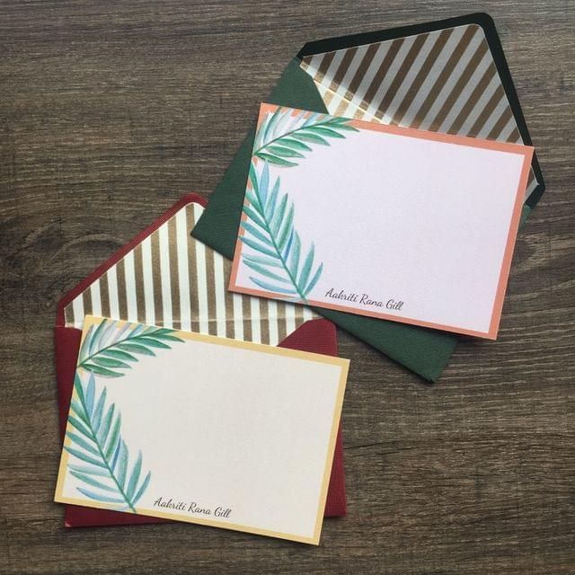 Dual Tropical Leaves Notecard set