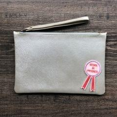 Disco Wristlet Pouch - Silver | Customize with a patch of your choice