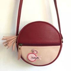 Prismatic Round Sling Bag with Patch - Maroon & Peach Pink | Customize with a patch