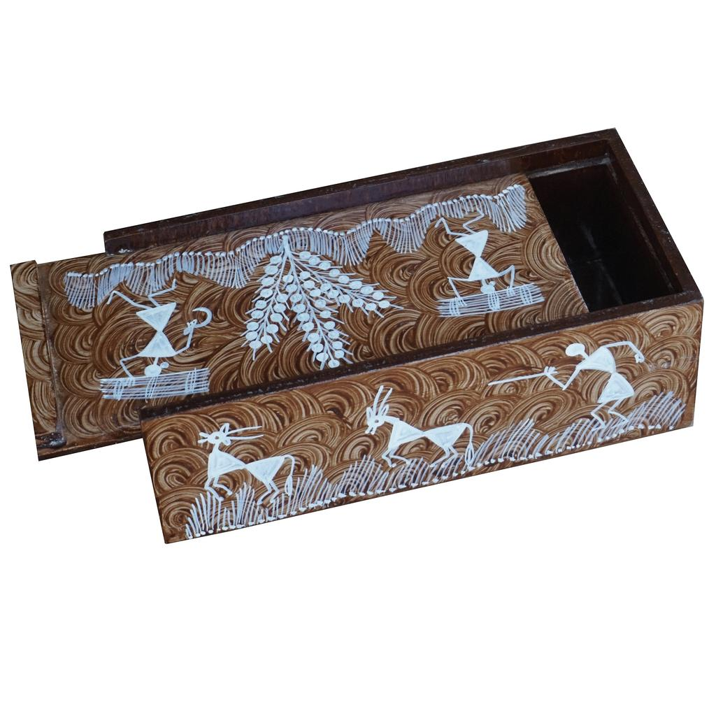 Wooden Box With Sliding Cover -Warli Art-WD11