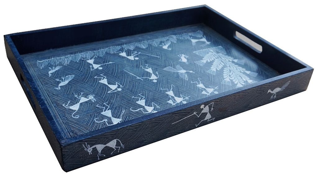 Wooden Tray With Handle-Large Size -Warli Art-WD33
