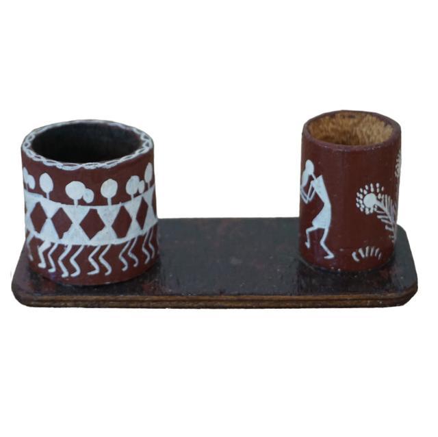 Wooden Pen Stand Circular Mounted On A Base-Warli Art-WA33
