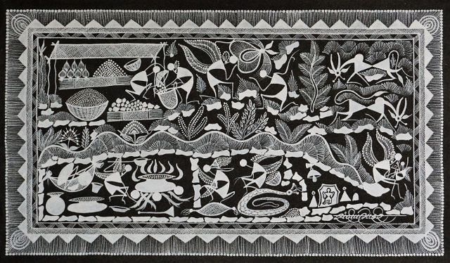 Warli Painting on Canvas-Theme- Randhavan aani Bajar-A4