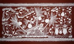 Warli Painting on Canvas- Theme- Khajurechi Tadi-A5