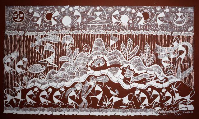 Warli Painting on Canvas- Theme- Krishna and Gopis-B3