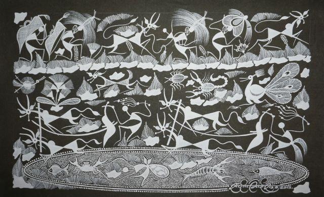 Warli Painting on Canvas- Theme- Nangar (ploughing)-B10