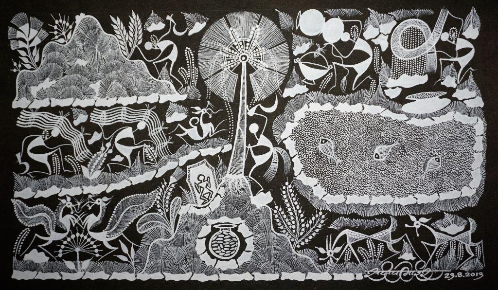 Warli Painting on Canvas- Theme- Maad aani Tala (Coconut tree and pond)-B6