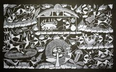 Warli Painting on Canvas- Theme-Randhavan and Nangarani (Cooking food and Ploughing Activities)-B7