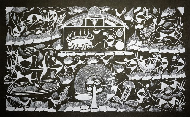 Warli Painting on Canvas- Theme-Randhavan and Nangarani (Cooking food and Ploughing Activities)-B7