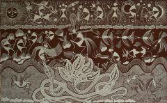 Warli Painting on Canvas- Theme: Krishna-Kaliya Mardan (Krishna taking over Kaliya)-C3