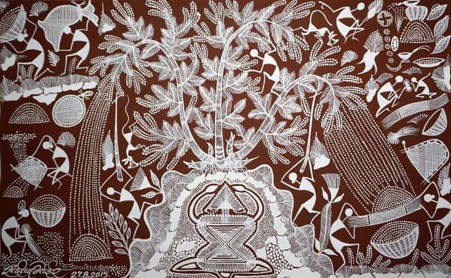 Warli Painting on Canvas- Theme: Nisarg Devata (Nature god)-C1