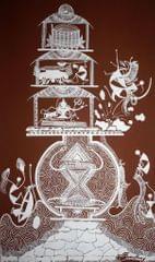 Warli Painting on Canvas- Theme: Shankar Dev (Lord Shankar)-C5