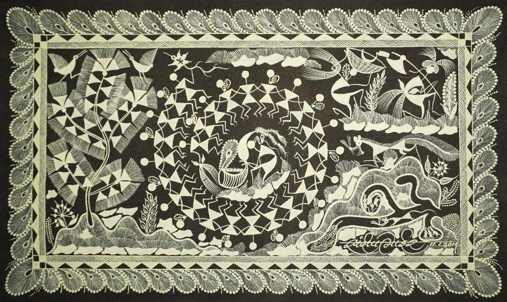 Warli Painting on Canvas- Theme- Tarpa Dance-A1
