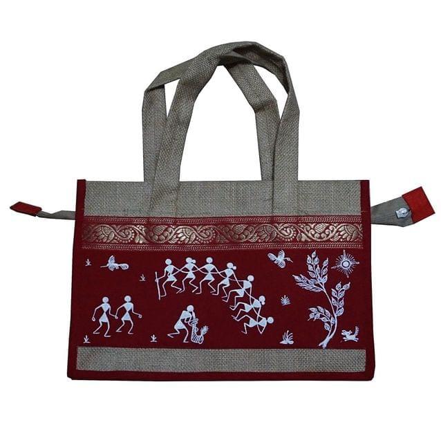Trendy Jute Bag-Warli Art-Maroon-JC22