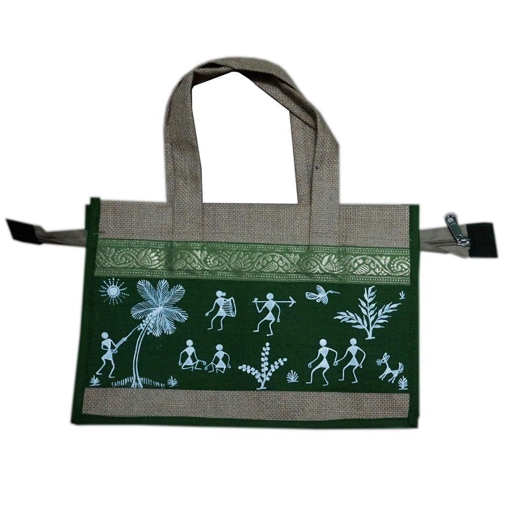 Trendy Jute Bag-Warli Art-Green-JC22