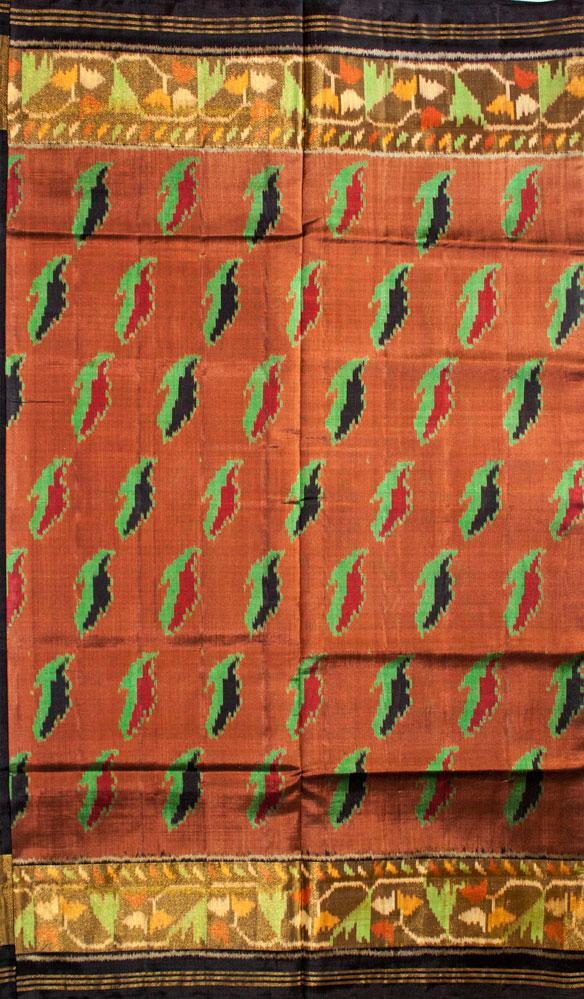 Single Ikat Patola Saree Handwoven-Pure Silk-Brown