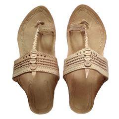 Men Kolhapuri Tan Sandal-Pasting Puda