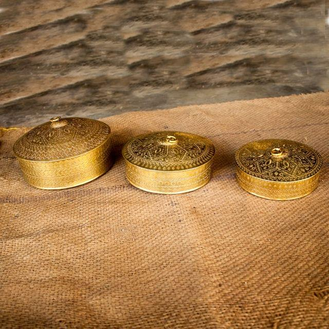 Hand Crafted Brass Container-Dabba Set of 3