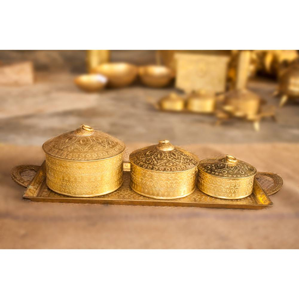 Hand Crafted Brass Tray & Container / Dabba