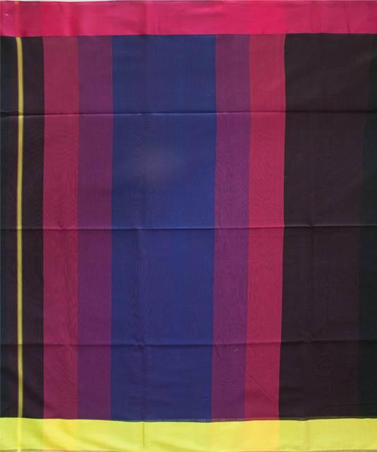 Maheshwari Handwoven Cotton-Silk Saree- Black and Multicolor