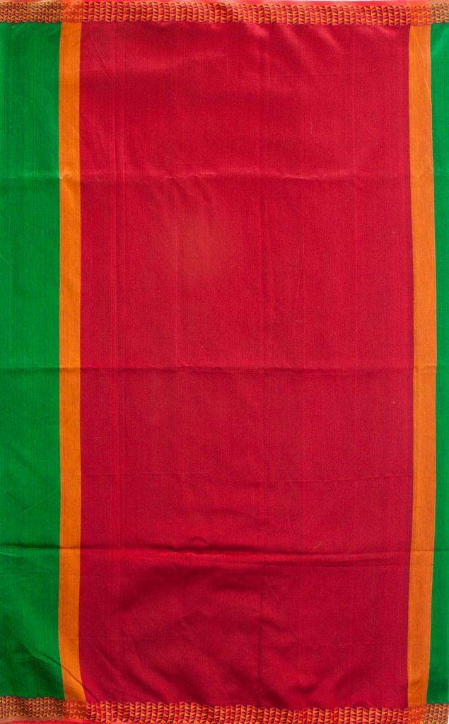 Maheshwari Handwoven Cotton-Silk Saree-Green and Red