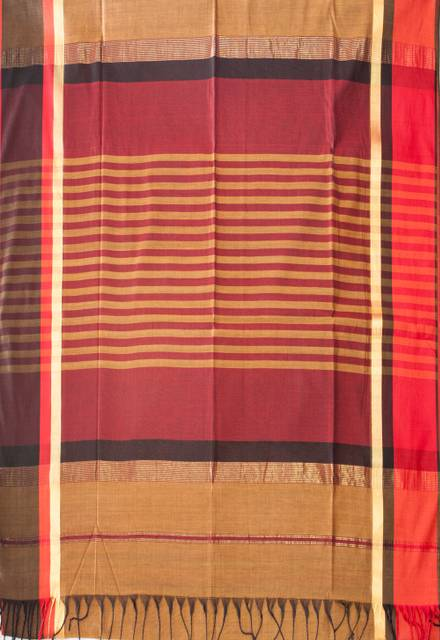 Maheshwari Handwoven Cotton-Silk Saree-Brown