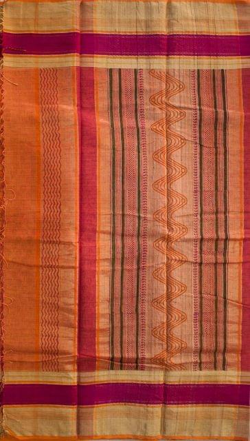 Maheshwari Handwoven Cotton-Silk Saree with Bagh Print-Orange
