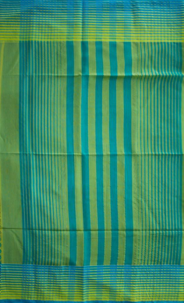 Maheshwari Handwoven Cotton-Silk Saree-Green