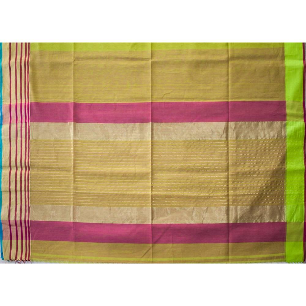 Maheshwari Handwoven Cotton-Silk Saree with Broad Zari Border