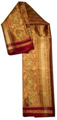 Pure Silk Single Ikat Patola Stole 48 Inch-Heavy Zari Tissue