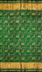 Single Ikat Patola Saree Handwoven-Pure Silk-Green