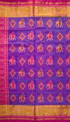 Single Ikat Patola Saree Handwoven-Pure Silk-Pink and Blue