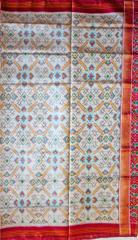 Single Ikat Patola Saree Handwoven-Pure Silk-Off white