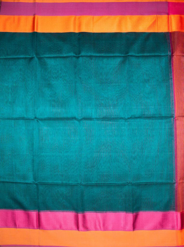 Maheshwari Handwoven Cotton-Silk Saree: 75% Silk and 25% Cotton with Chatai Border