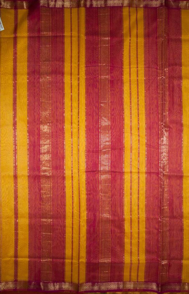 Maheshwari Handwoven Cotton-Silk Saree-Yellow