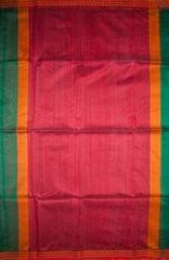 Maheshwari Handwoven Cotton-Silk Saree-Dark Green- Karwat Border Kosa Piece