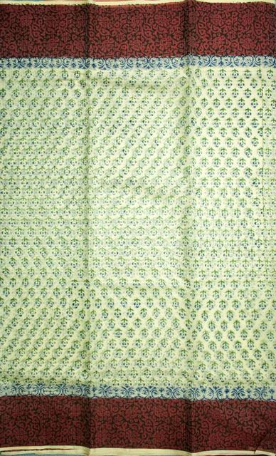 Authentic Kota Doria Hand Block Print Cotton-Silk Saree, IHB Certified with GI tag