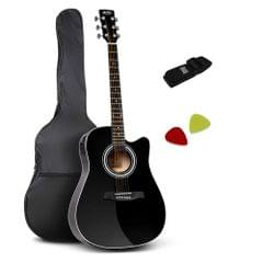 """41"""" 5- Band EQ Electric Acoustic Guitar Full Size Black"""